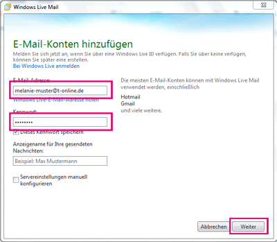 Windows Live Mail Einrichten T Online