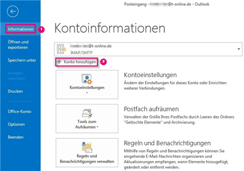 Outlook 2013 neues Konto anlegen