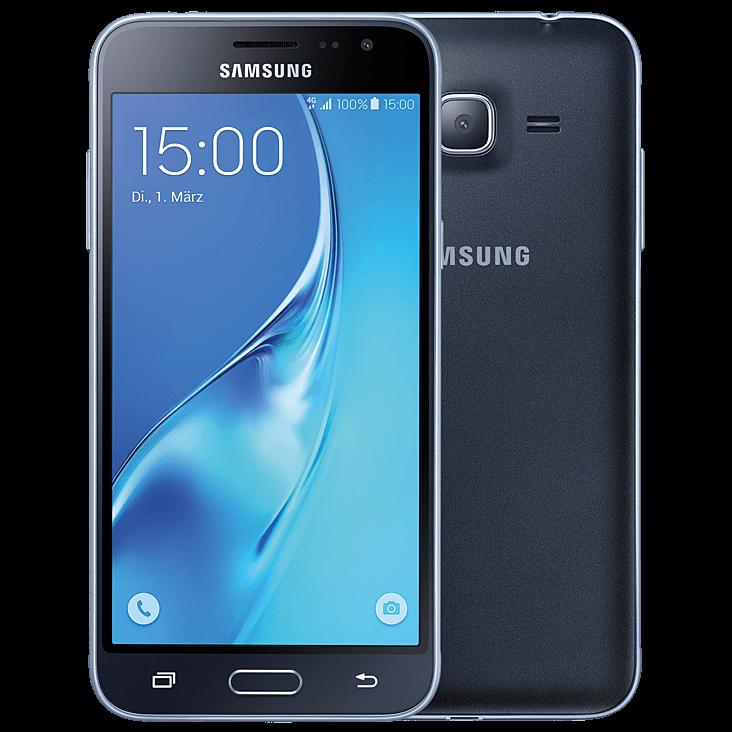 Samsung Galaxy J3 (2016) schwarz vorne und hinten