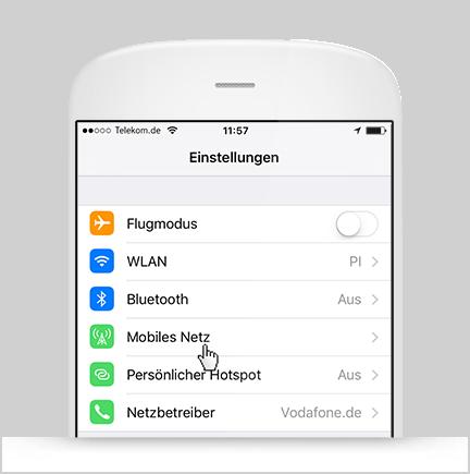 Aktivierung Roaming iOS