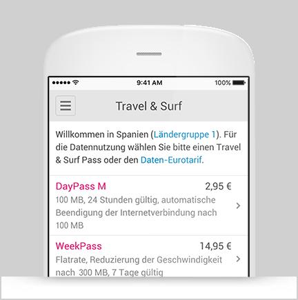 Buchung Travel & Surf Pass in der App