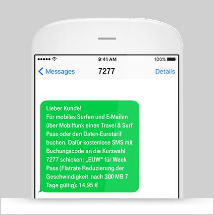 Buchung Travel & Surf Pass per SMS