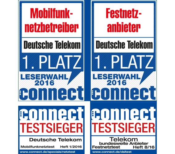 Connect: Testsieger Mobilfunknetzbetreiber Heft 1/2016 & Festnetzanbieter Heft 8/2016