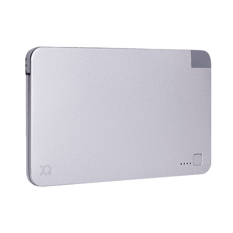 xqisit Battery Pack Lightning / Micro USB 5000 mAh Silber 99923892 seitlich