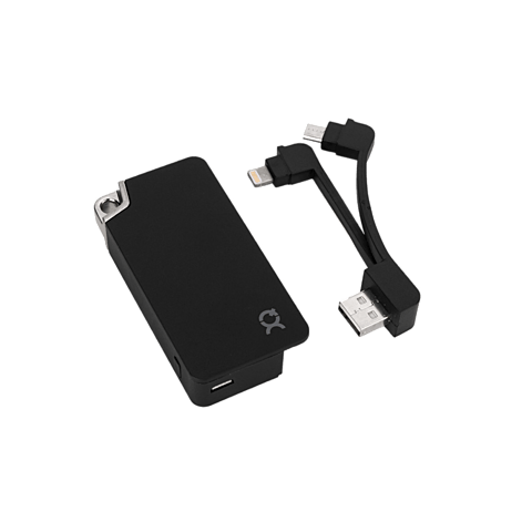 xqisit KeyChain Battery Pack Lightning / Micro-USB Schwarz 99923888 seitlich