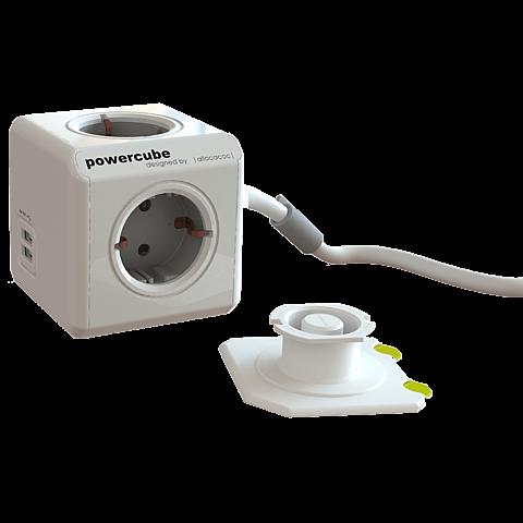 allocacoc PowerCube 4-fach-Steckdose mit 2 x USB Weiß 99923672 seitlich