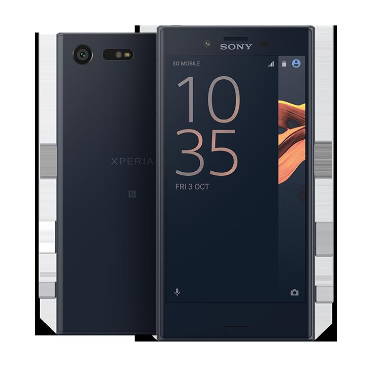 Sony Xperia X Compact Schwarz vorne und hinten