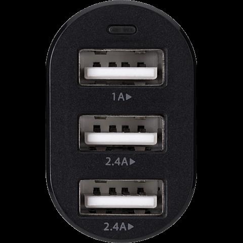 xqisit Kfz-Ladeadapter 3x USB 5.8A Schwarz 99925192 vorne