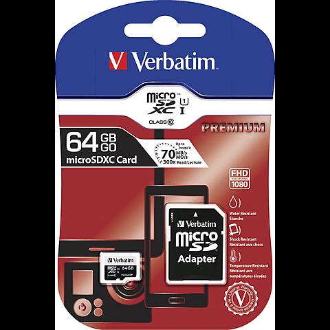 Verbatim Micro SDXC Card 64GB Class10 hinten 99925317