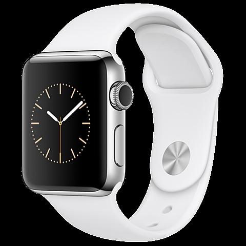 Apple Watch Series 2 38 mm Aluminiumgehäuse Silber Sportarmband Weiß 99925617 seitlich