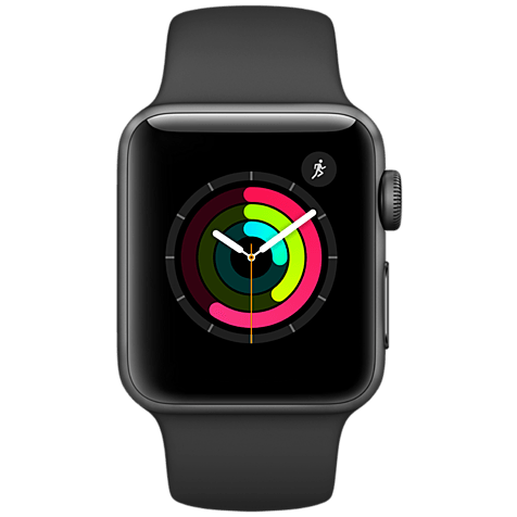 Apple Watch Series 2 38 mm Aluminiumgehäuse Space Grau Sportarmband Schwarz 99925619 hero