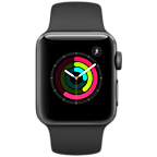 Apple Watch Series 2 38 mm Aluminiumgehäuse Space Grau Sportarmband Schwarz 99925619 kategorie