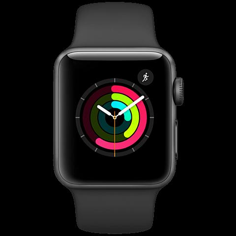 Apple Watch Series 2 38 mm Aluminiumgehäuse Space Grau Sportarmband Schwarz 99925619 vorne
