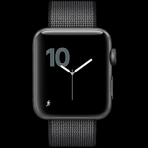 Apple Watch Series 2 42 mm Aluminiumgehäuse Space Grau Nylon-Armband Schwarz 99925622 hero