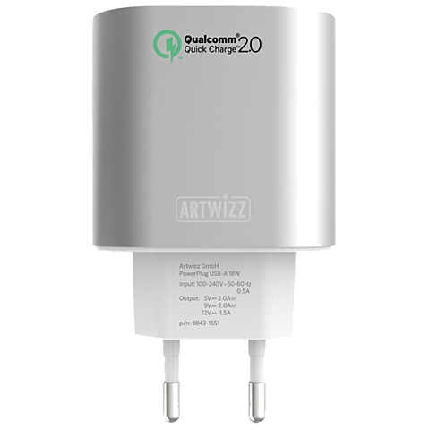 Artwizz Powerplug USB-A 18w Quick Charge silber vorne 99925634