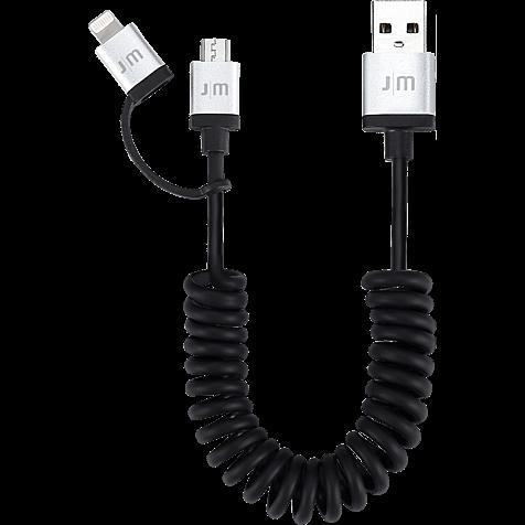 JustMobile AluCable Duo twist 2in1 Kabel schwarz hero 99925687