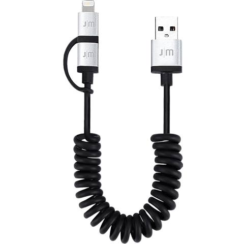 JustMobile AluCable Duo twist 2in1 Kabel schwarz seitlich 99925687