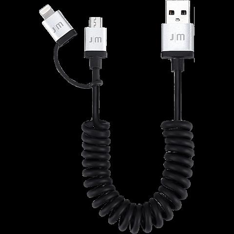 JustMobile AluCable Duo twist 2in1 Kabel schwarz vorne 99925687