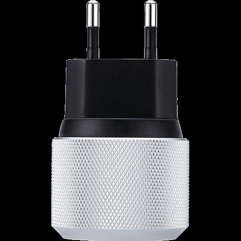 JustMobile AluPlug USB-Netzteil mit 2 USB Ports silber schwarz hinten 99925688