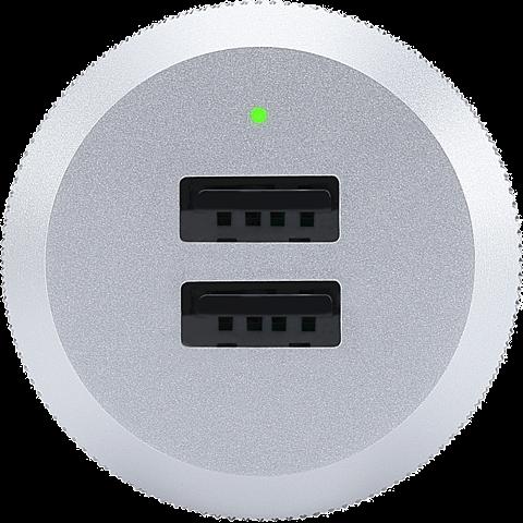 JustMobile AluPlug USB-Netzteil mit 2 USB Ports silber schwarz seitlich 99925688