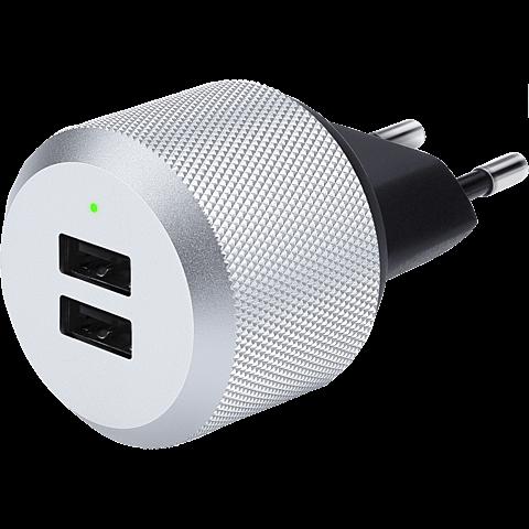JustMobile AluPlug USB-Netzteil mit 2 USB Ports silber schwarz vorne 99925688