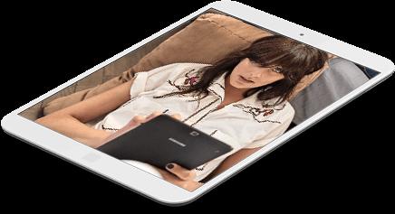 Tablet mit Frau im Bild