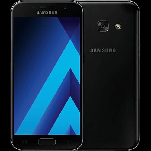 Samsung Galaxy A3 2017 schwarz vorne und hinten