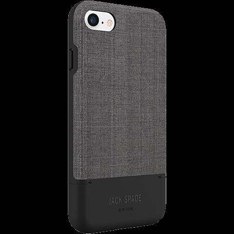 Jack Spade Credit Card Case Tech Oxford Gray Black Apple iPhone 7 99926263 seitlich