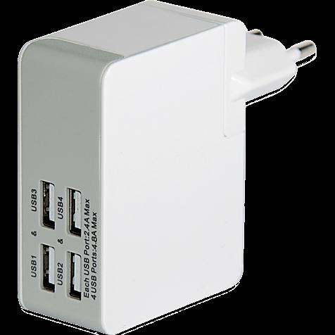 Ednet Ladegerät 4 x USB mit Reiseadapter weiss hero 99923329