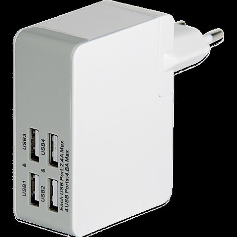 Ednet Ladegerät 4 x USB mit Reiseadapter weiss vorne 99923329