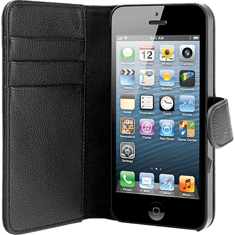xqisit Wallet Case Apple iPhone 5 schwarz vorne 99919962