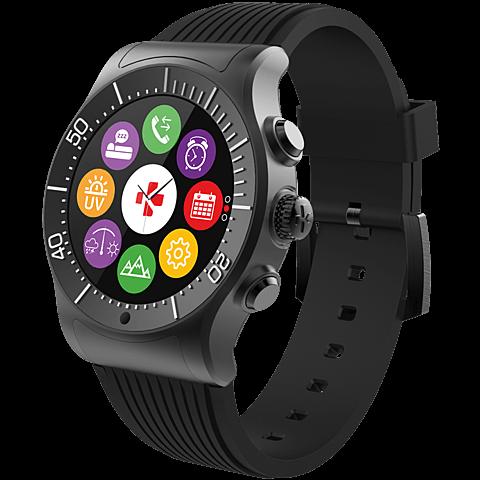 MyKronoz ZeSport Smartwatch Gehäuse Schwarz Armband Schwarz 99926390 seitlich
