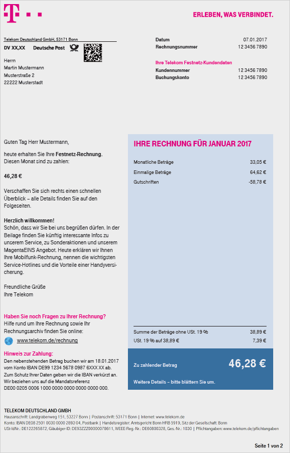 Rechnung Telekom Festnetz