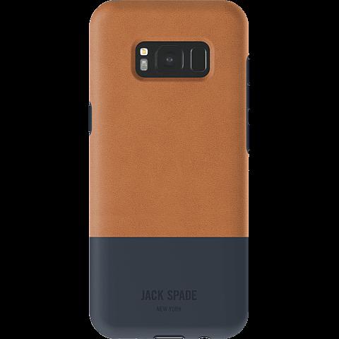 Jack Spade Colorblock Case Fulton Leather Tan Navy Samsung Galaxy S8 99926434 hinten