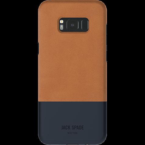 Jack Spade Colorblock Case Fulton Leather Tan Navy Samsung Galaxy S8+  99926435 hero