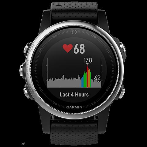 Garmin fenix 5S GPS-Multisport Smartwatch Silber Schwarz 99926543 vorne