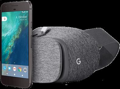 Google Pixel 32GB VR Brille anthrazit vorne und hinten