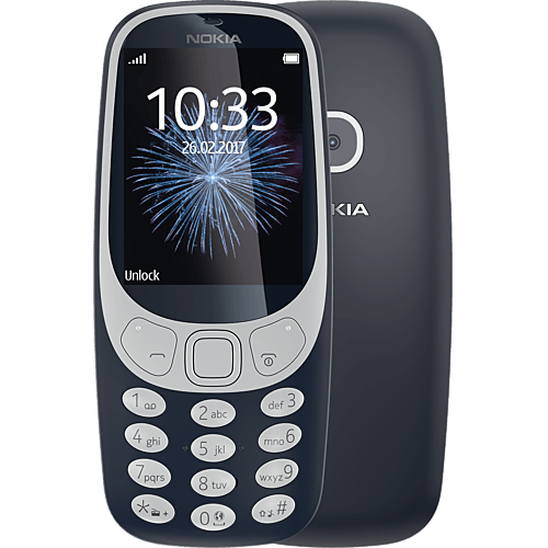 Nokia 3310 Blau vorne und hinten