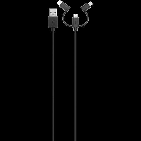 xqisit Kombi-Ladekabel Lightning - Micro-USB-Kabel mit USB-C Schwarz 99927004 vorne