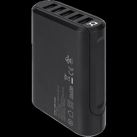 xqisit Reiselader 5 x USB 8A Schwarz 99927003 hinten