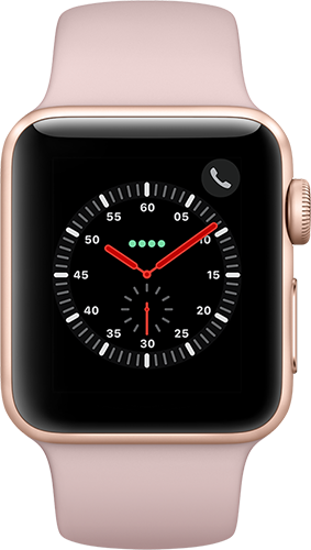Apple Watch Series 3 Aluminium-Gold-38 mm, Armband-Sport-Sandrosa, GPS und Cellular Vorne und Hinten