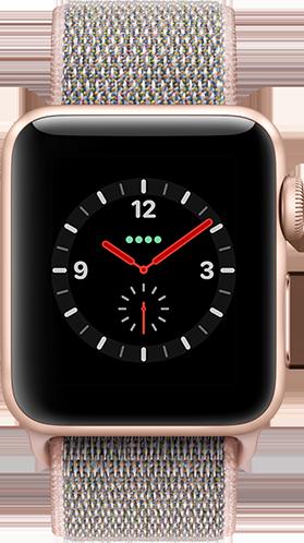 Apple Watch Series 3 Aluminium-Gold-38 mm, Armband-Sport Loop-Sandrosa, GPS und Cellular Vorne und Hinten
