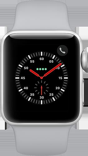 Apple Watch Series 3 Aluminium-Silber-38 mm, Armband-Sport-Nebel, GPS und Cellular Vorne und Hinten