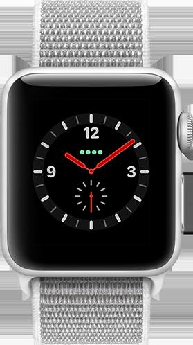 Apple Watch Series 3 Aluminium-Silber-38 mm, Armband-Sport Loop-Muschel, GPS und Cellular Vorne und Hinten