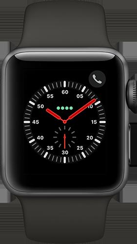 Apple Watch Series 3 Aluminium-Space Grau-38 mm, Armband-Sport-Grau, GPS und Cellular Vorne und Hinten