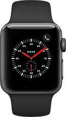 Apple Watch Series 3 Aluminium-Space Grau-38 mm, Armband-Sport-Schwarz, GPS und Cellular Katalog