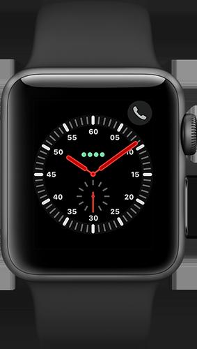 Apple Watch Series 3 Aluminium-Space Grau-38 mm, Armband-Sport-Schwarz, GPS und Cellular Vorne und Hinten