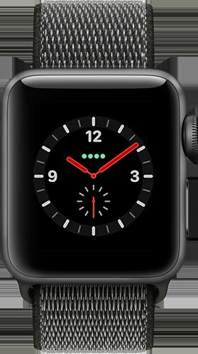 Apple Watch Series 3 Aluminium-Space Grau-38 mm, Armband-Sport Loop-Dunkeloliv, GPS und Cellular Vorne und Hinten