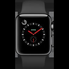 Apple Watch Series 3 Edelstahl-Space Schwarz-38 mm, Armband-Sport-Schwarz, GPS und Cellular Katalog