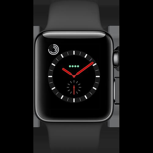 Apple Watch Series 3 Edelstahl-Space Schwarz-38 mm, Armband-Sport-Schwarz, GPS und Cellular Vorne und Hinten